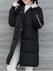 Hooded  Zips  Embroidery Plain  Long Sleeve Coats