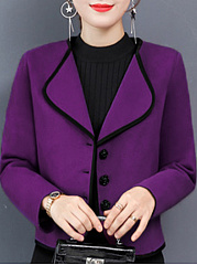 Lapel  Single Breasted  Plain  Long Sleeve Coats