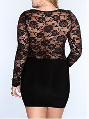Scoop Neck  Lace Plus Size Bodycon Dresses