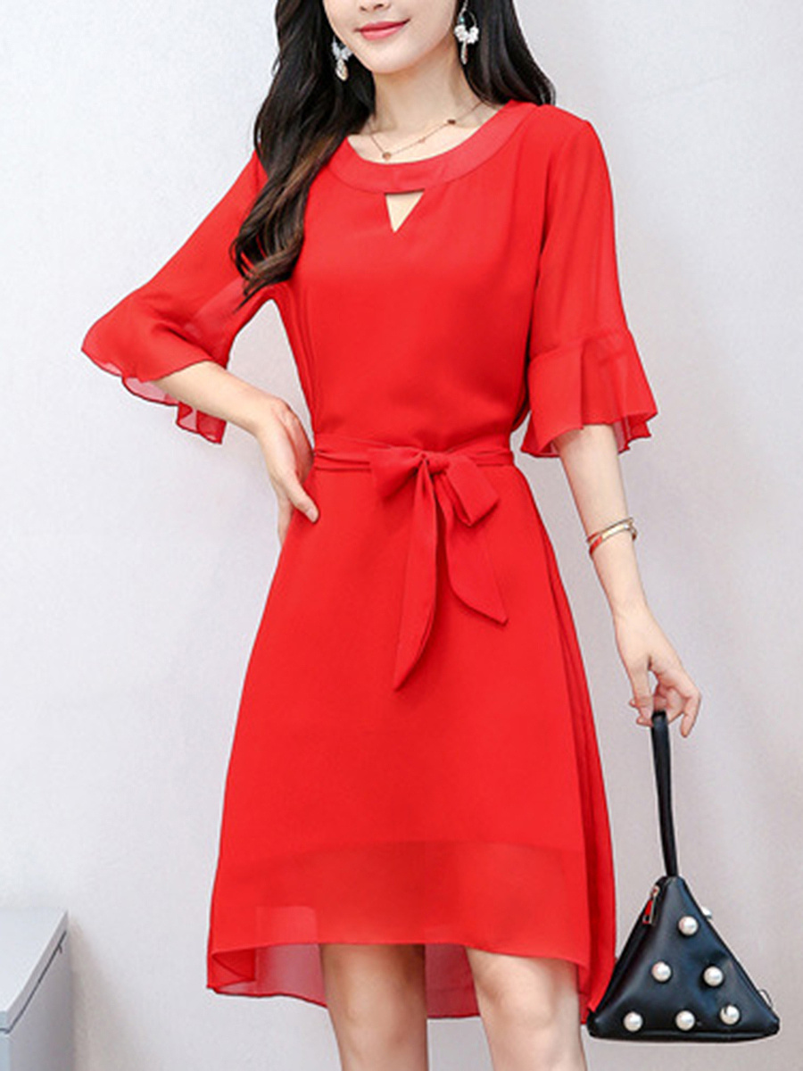 Bell Sleeve Keyhole Plain High-Low Skater Dress