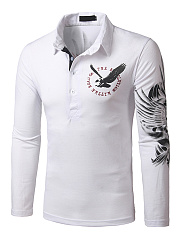 Polo Collar Eagle Printed Men T-Shirt