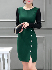 Color Block Slit Round Neck Pocket Bodycon Dress