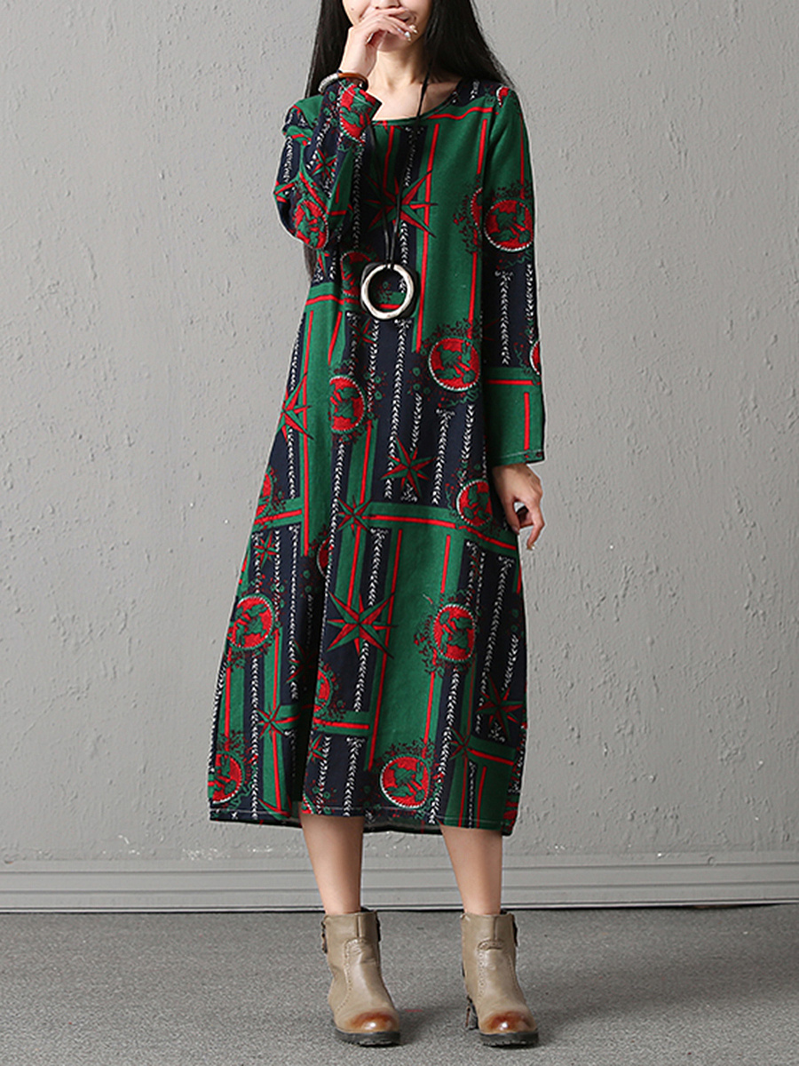 Round Neck Loose Printed Pocket Maxi Dress