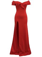 Off Shoulder Flounce High Slit Plain Evening Dress