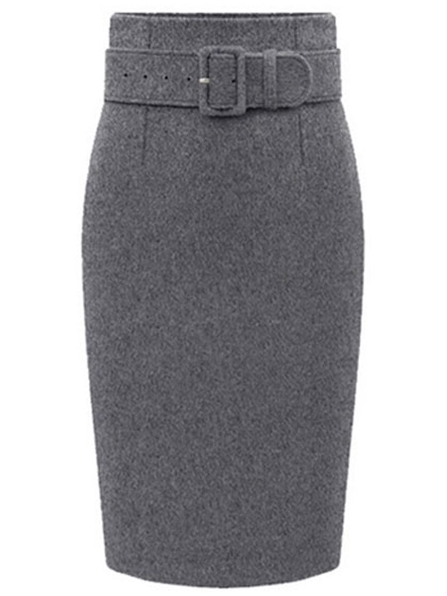 Plain Belt Woolen Pencil Midi Skirt