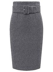 Plain-Belt-Woolen-Pencil-Midi-Skirt