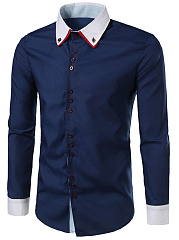 Button-Down-Collar-Color-Block-Men-Shirts