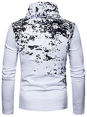 Designed Cowl Neck Men Abstract Print T-Shirt