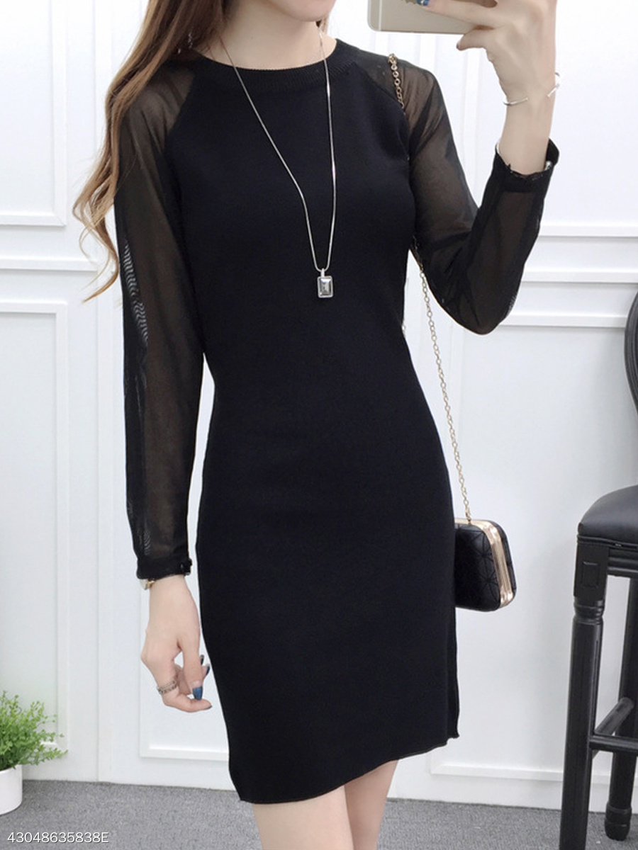 Round Neck See-Through Plain Raglan Sleeve Bodycon Dress
