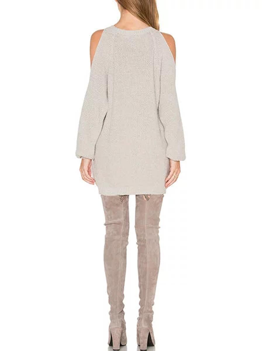 Open Shoulder  Plain  Cotton Blend Shift Dress