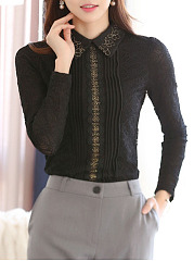 Fold-Over-Collar-Decorative-Lace-Floral-Blouses