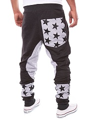 Color Block Star Pegged Men's Casual Pants