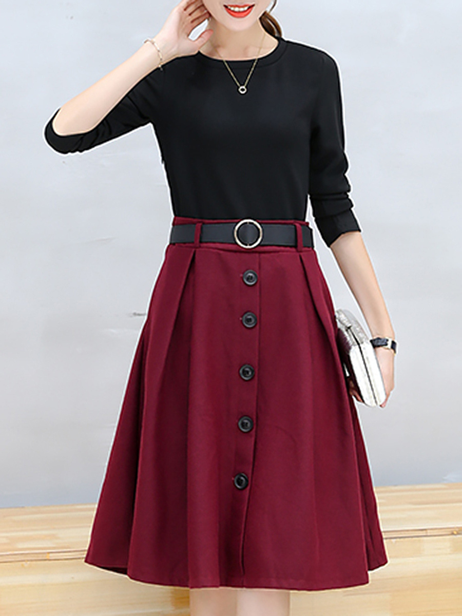 Round Neck Belt Color Block Pocket Midi Skater Dress