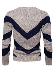 Round Neck Color Block Men'S Sweater