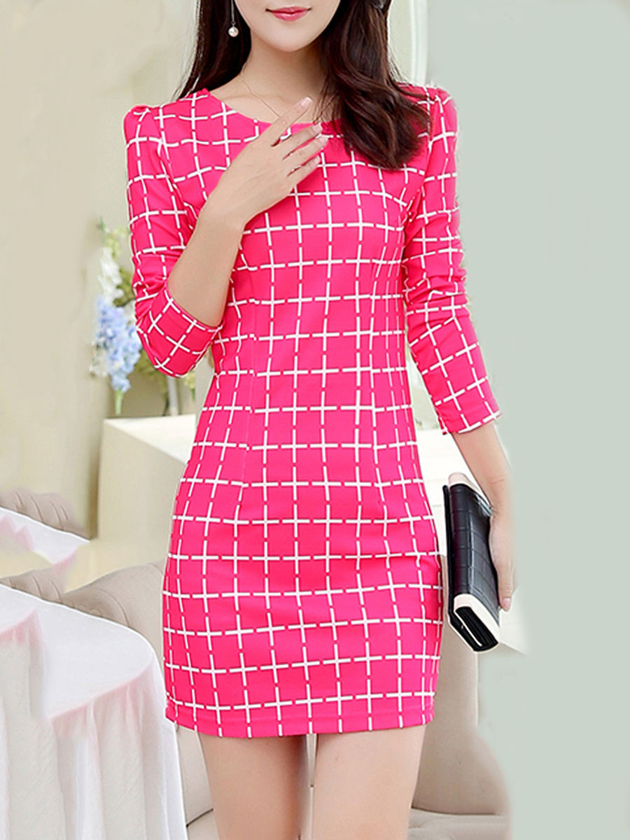 Round Neck Plaid Mini Bodycon Dress