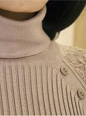 Turtleneck Hollow Out Plain Decorative Button Sweater