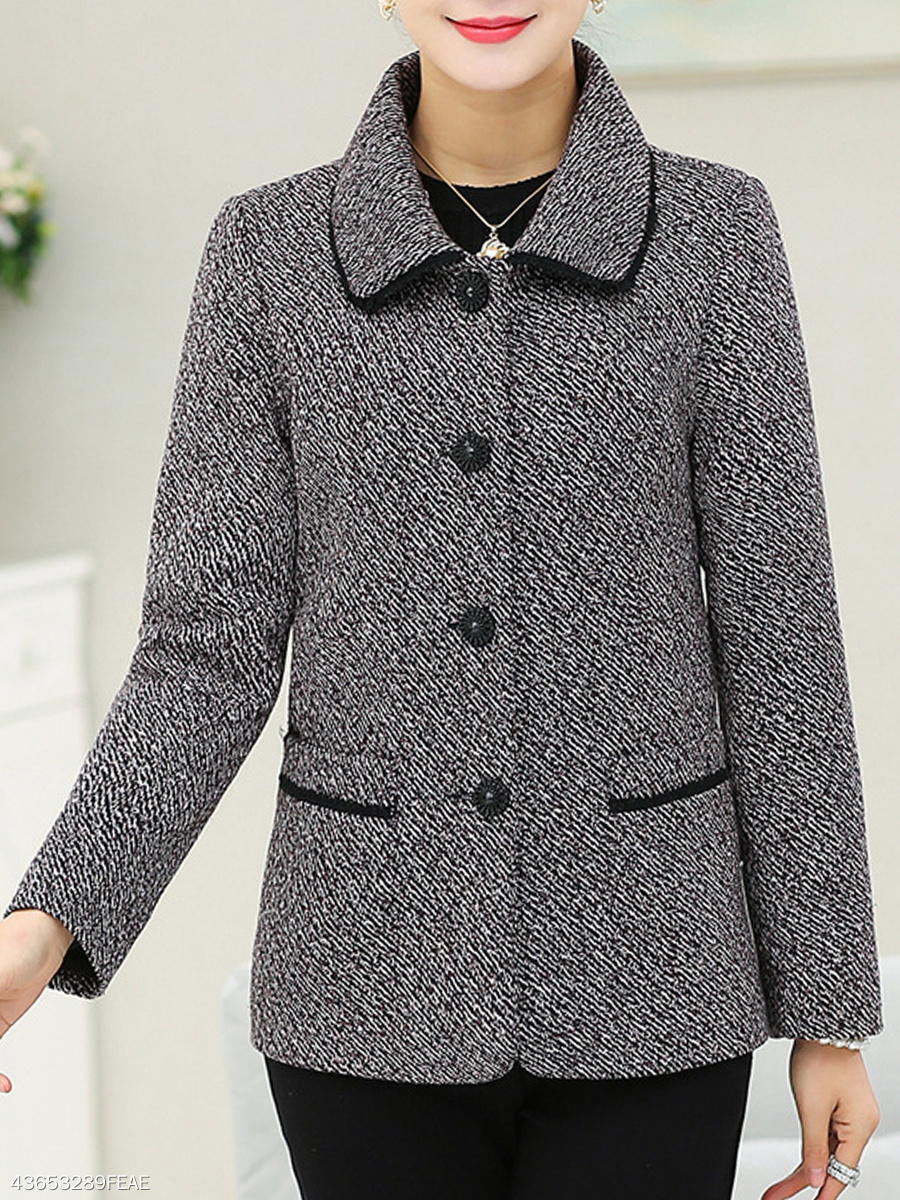 Contrast Trim Patch Pocket Single Breasted Coat