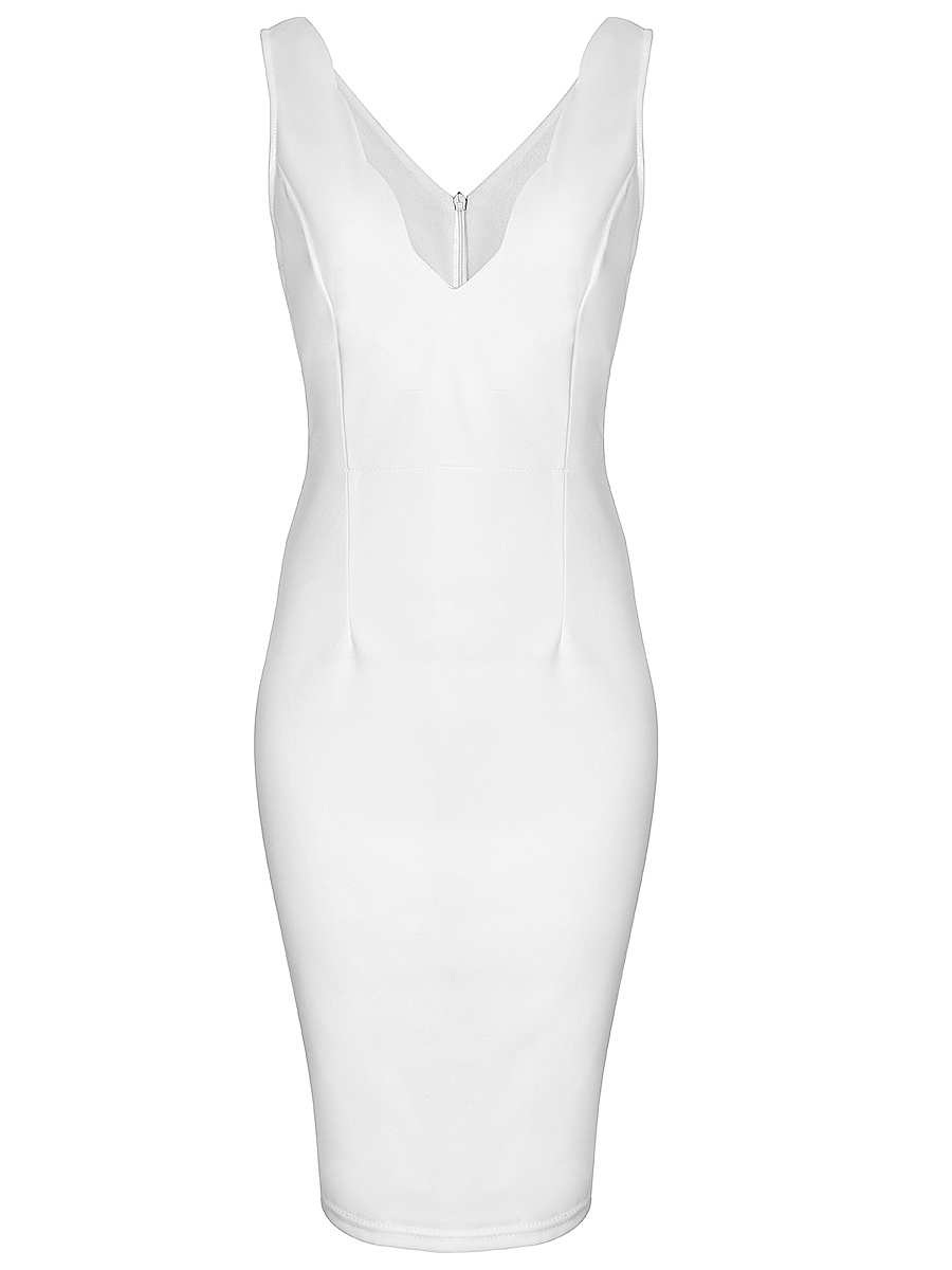 Chic Scallop V-Neck  Solid Bodycon Dress