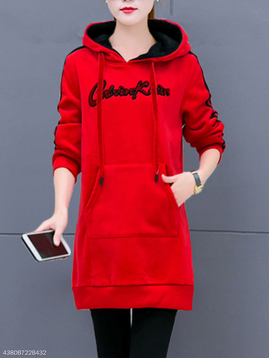 Kangaroo Pocket Letters Striped Hoodie