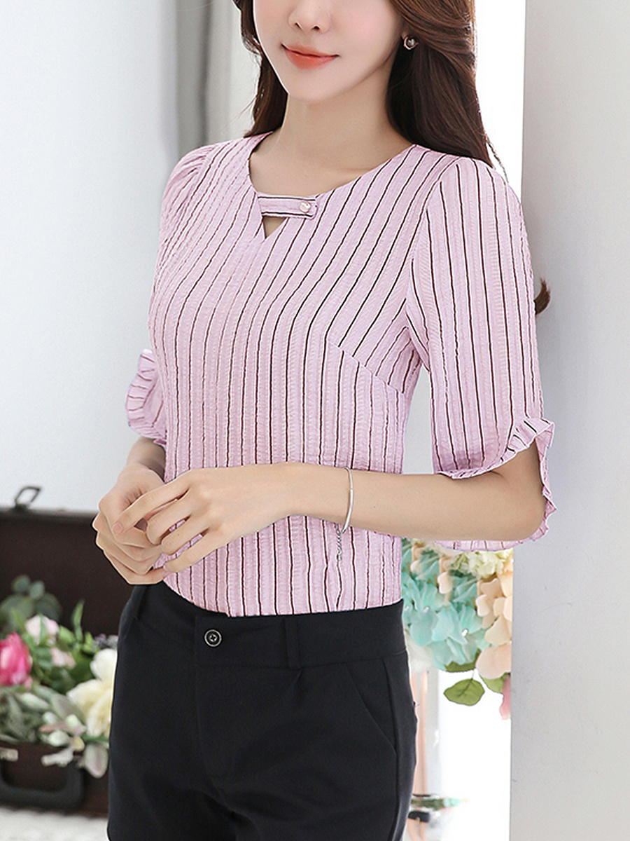 V-Neck  Ruffle Trim  Vertical Striped Blouses