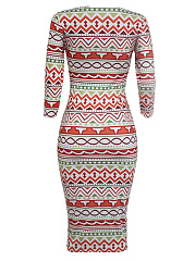 Round Neck  Printed Striped Midi Bodycon Dress