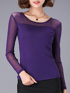 Round  Neck  Patchwork  Elegant  Plain  Long Sleeve  T-Shirt
