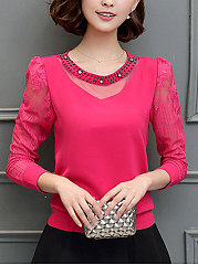 Autumn Spring  Chiffon  Women  Round Neck  Beading Decorative Lace See-Through  Plain  Long Sleeve Blouses