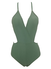 Deep V-Neck One Piece Swimwear