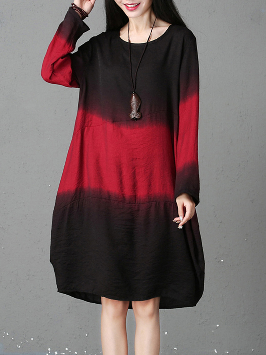 Gradient Color Block Round Neck Shift Dress