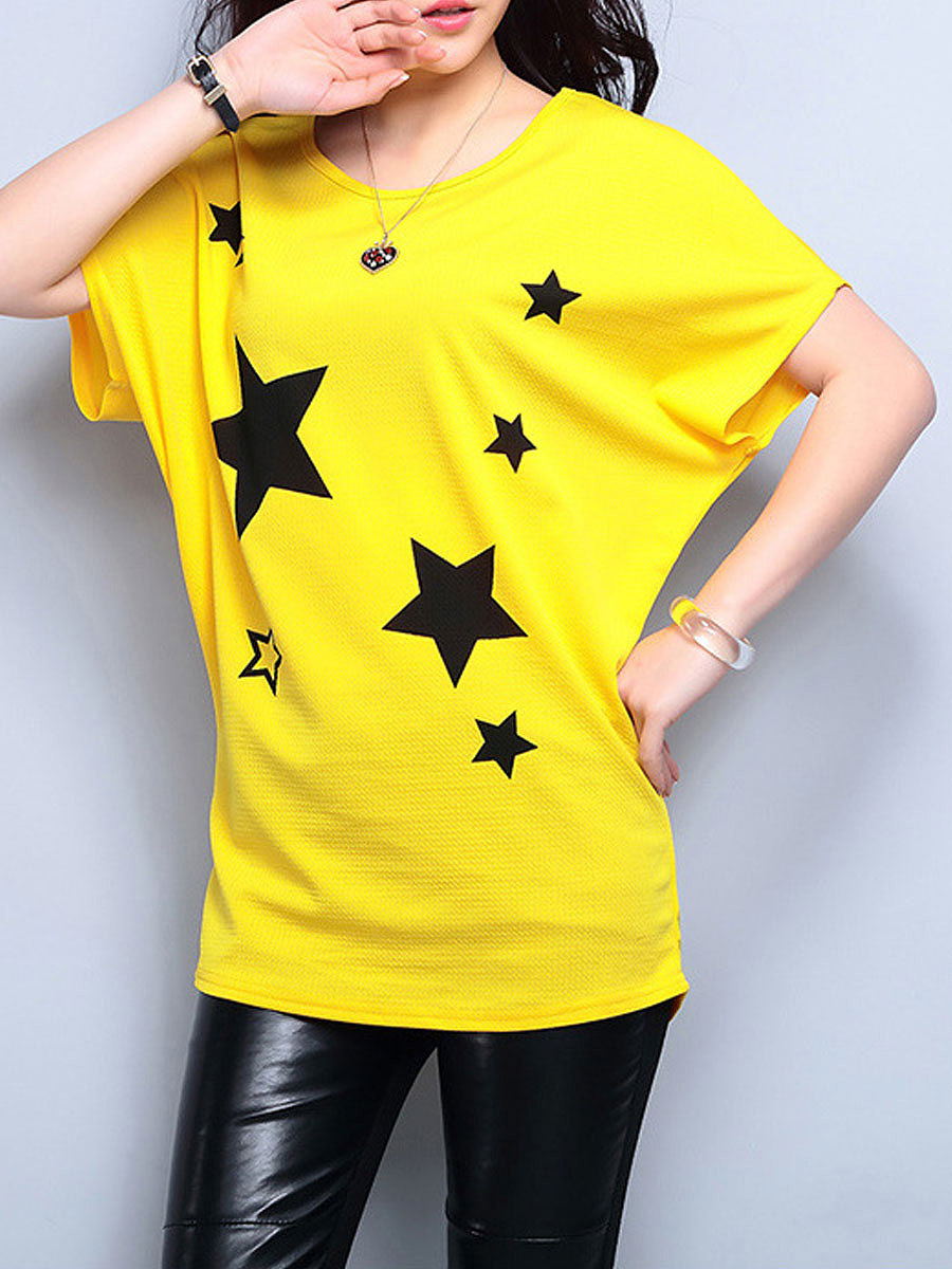 Summer  Polyester  Women  Round Neck  Star  Batwing Sleeve Short Sleeve T-Shirts