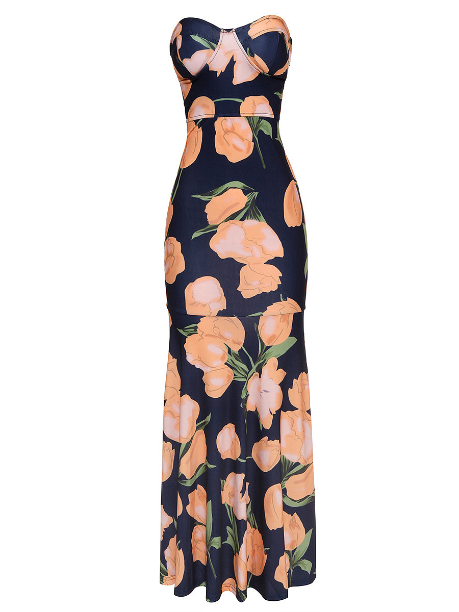 Strapless Floral Printed Mermaid Maxi Dress