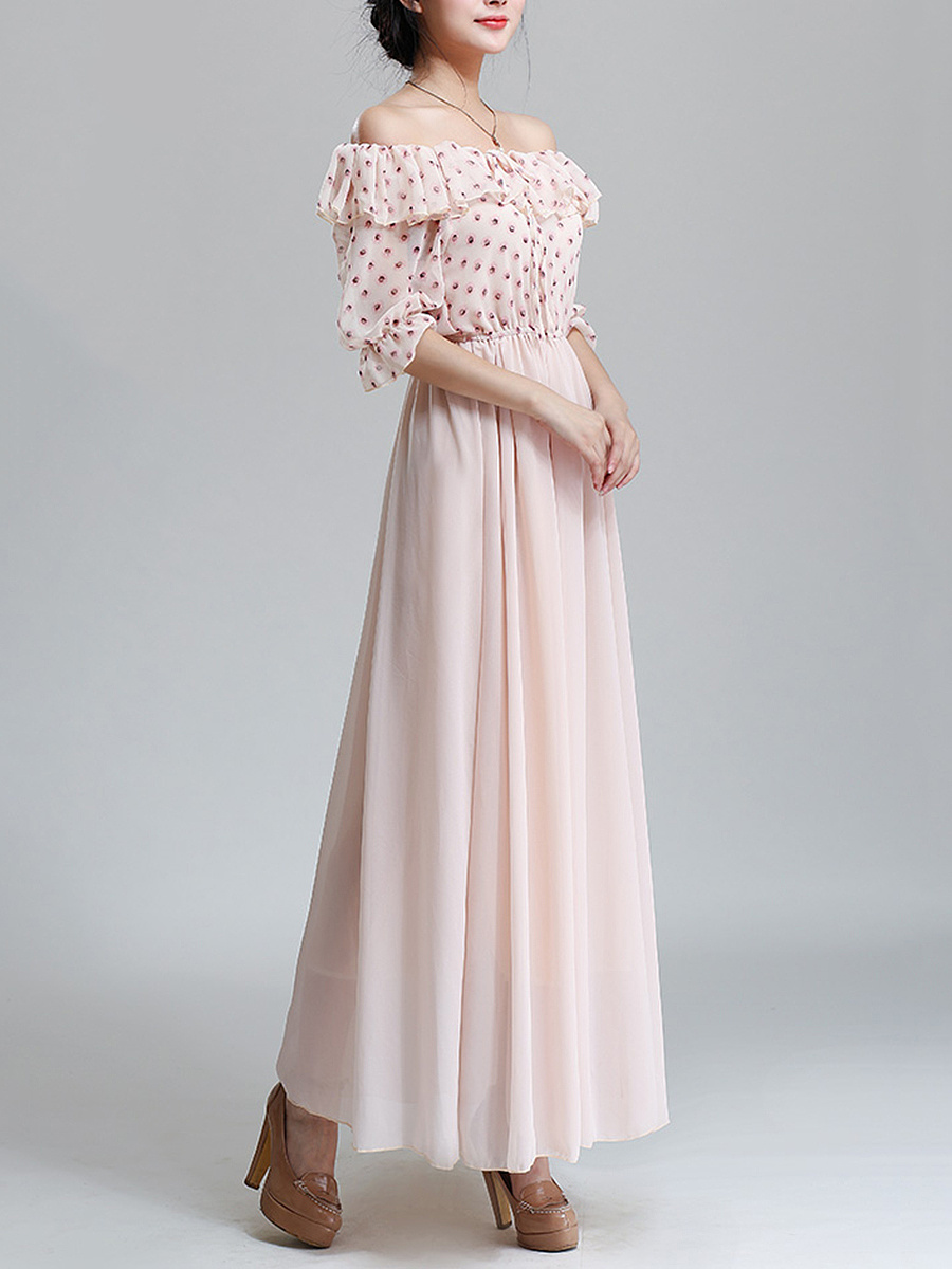 Flounce  Two Way  Printed  Chiffon Maxi Dress