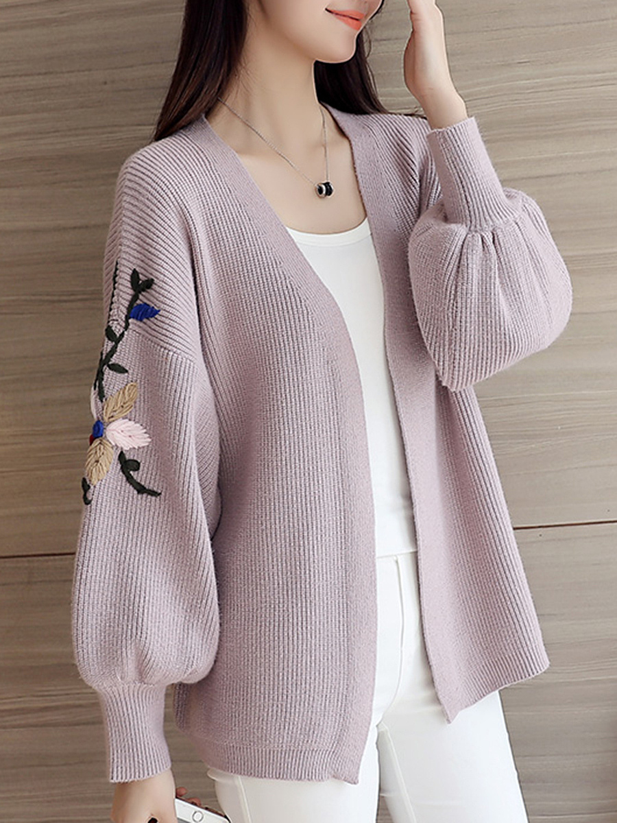 Collarless  Embroidery  Puff Sleeve Cardigan