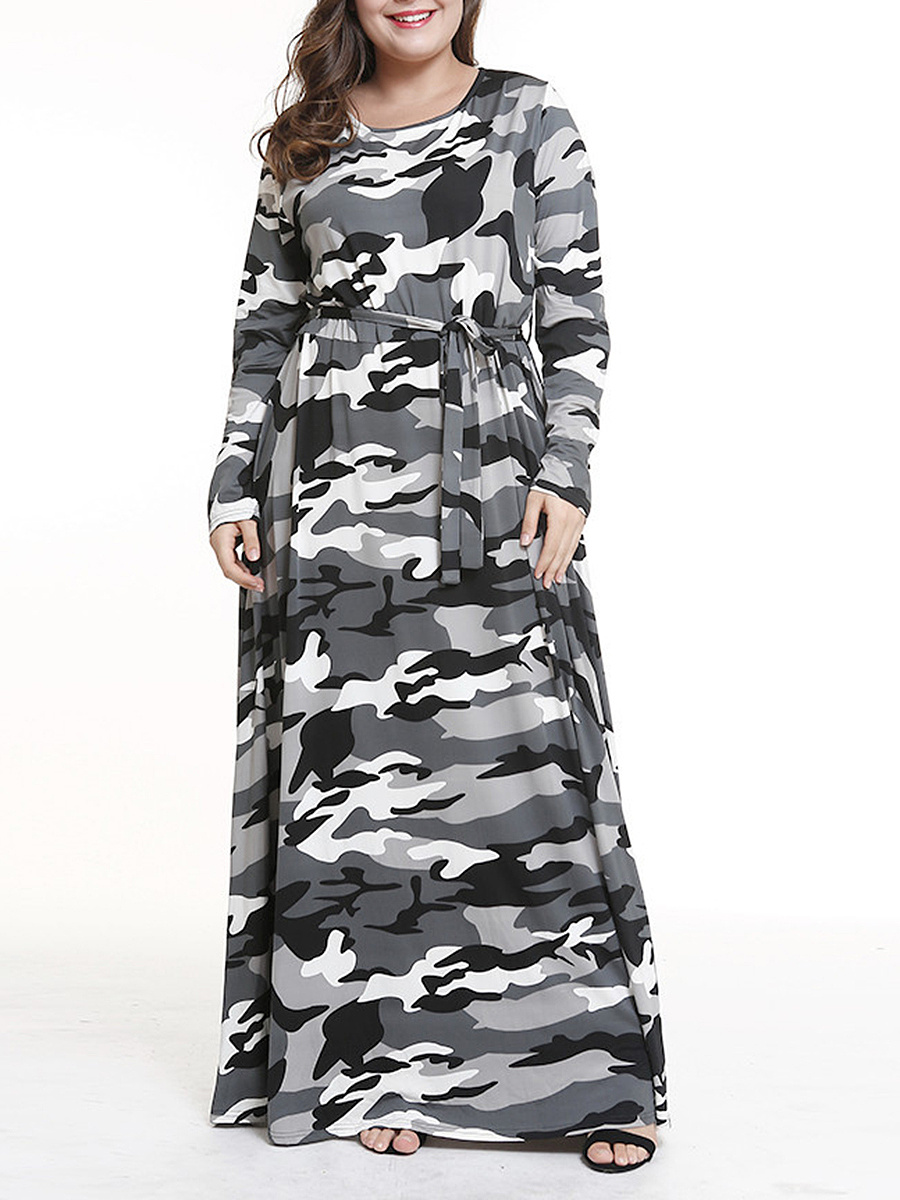 Round Neck  Elastic Waist  Camouflage Plus Size Midi & Maxi Dress