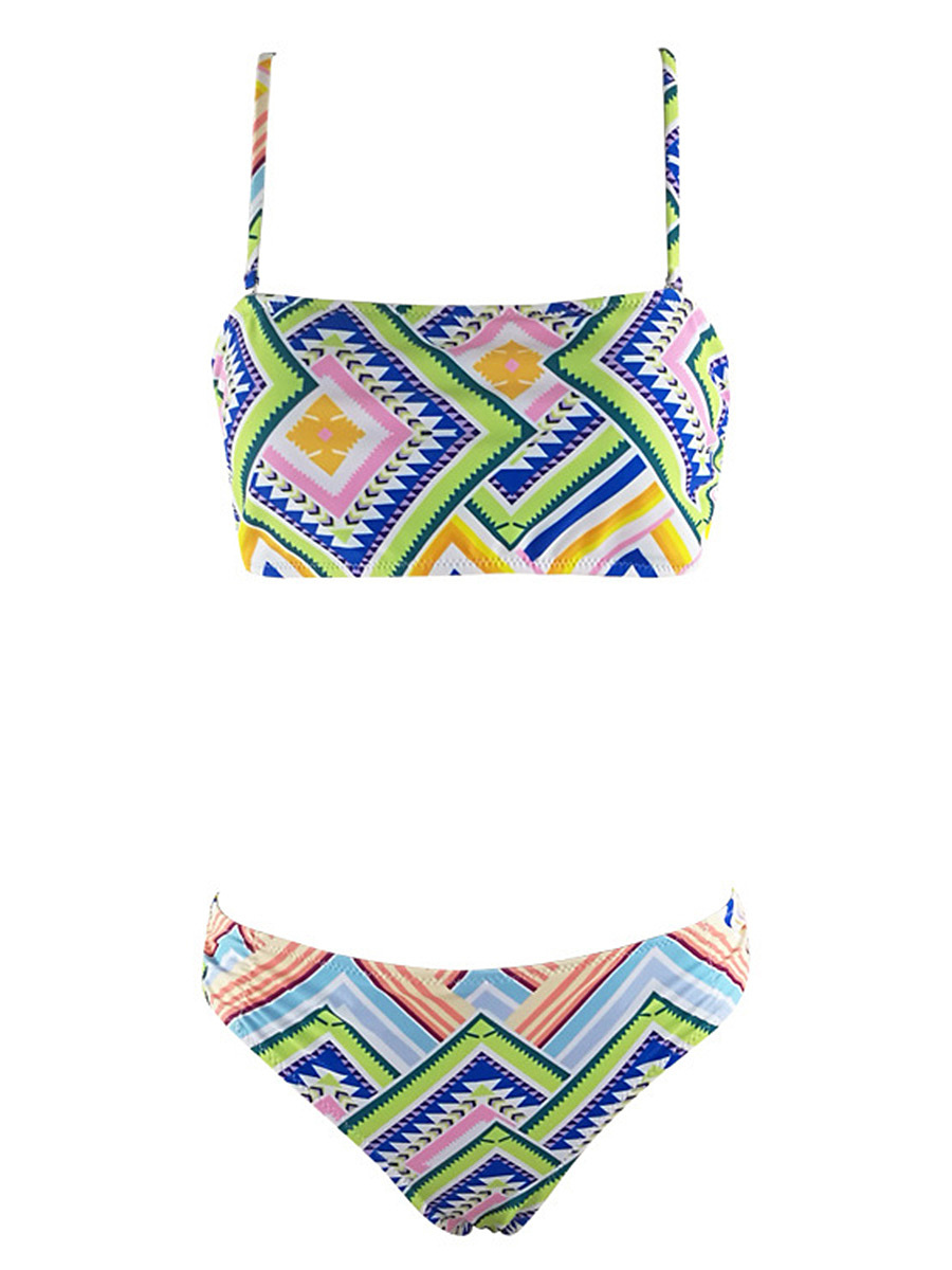 Spaghetti Strap  Hollow Out Printed Bikini