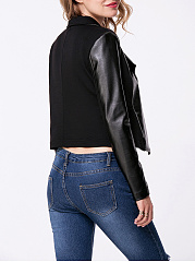 Lapel Patchwork Zips Plain Biker Jacket