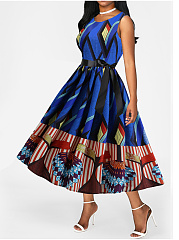 Belt Round Neck  Printed Daliy Maxi Dress