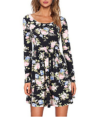 Round Neck  Abstract Print Floral Printed Skater Dress