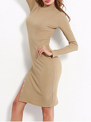 Sexy High Neck High Slit Plain Bodycon Dress