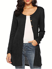 Round Neck  Decorative Button  Plain  Long Sleeve Cardigans