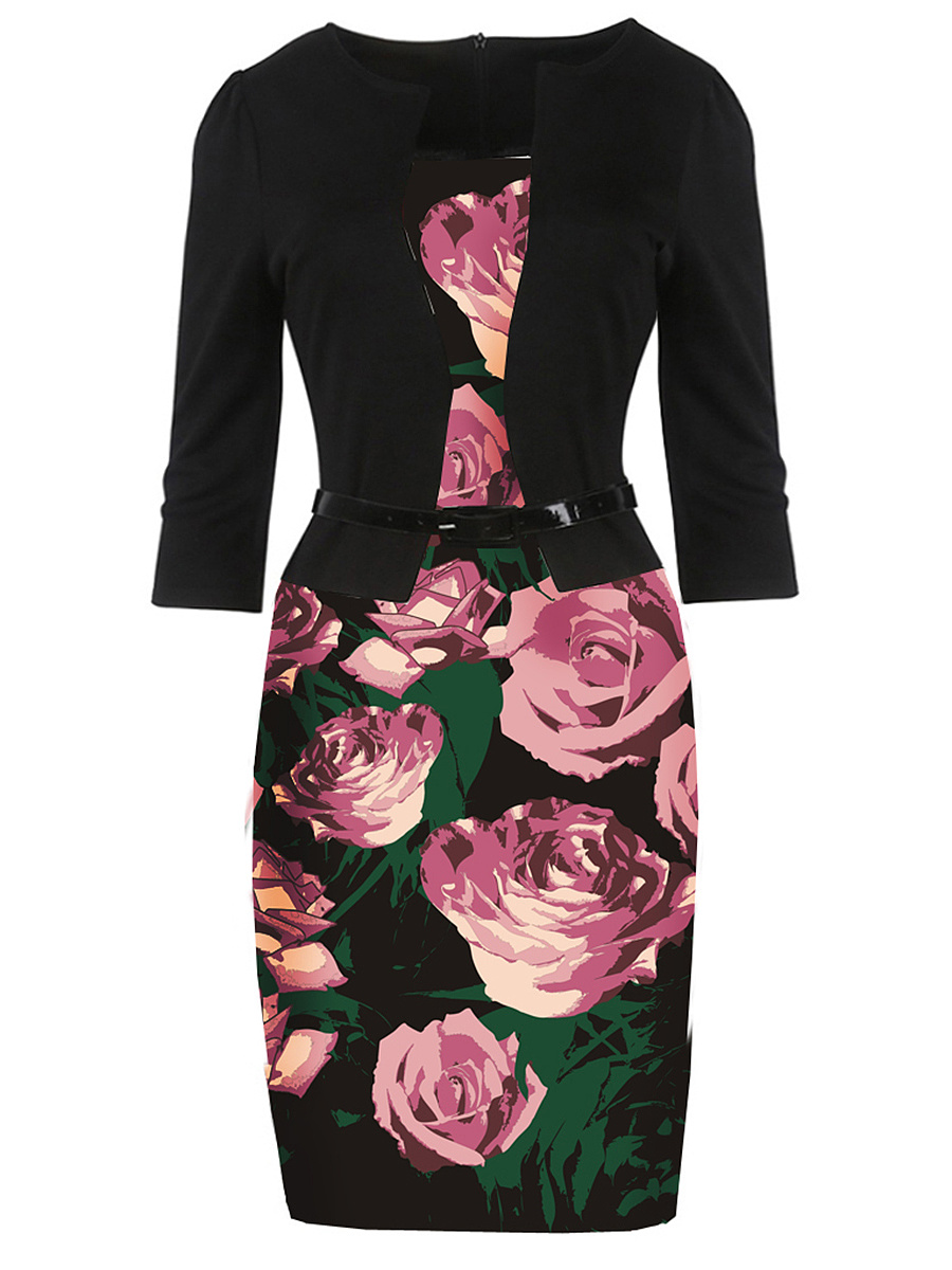 Beautiful Belt  Floral Printed  Polyester Bodycon Dress