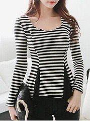 Round-Neck-Backless-Patchwork-Striped-Long-Sleeve-T-Shirts