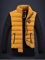 High-Neck-Quilted-Color-Block-Fleece-Lined-Men-Coat
