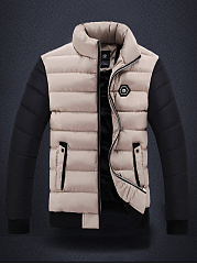 High Neck Quilted Color Block Fleece Lined Men Coat