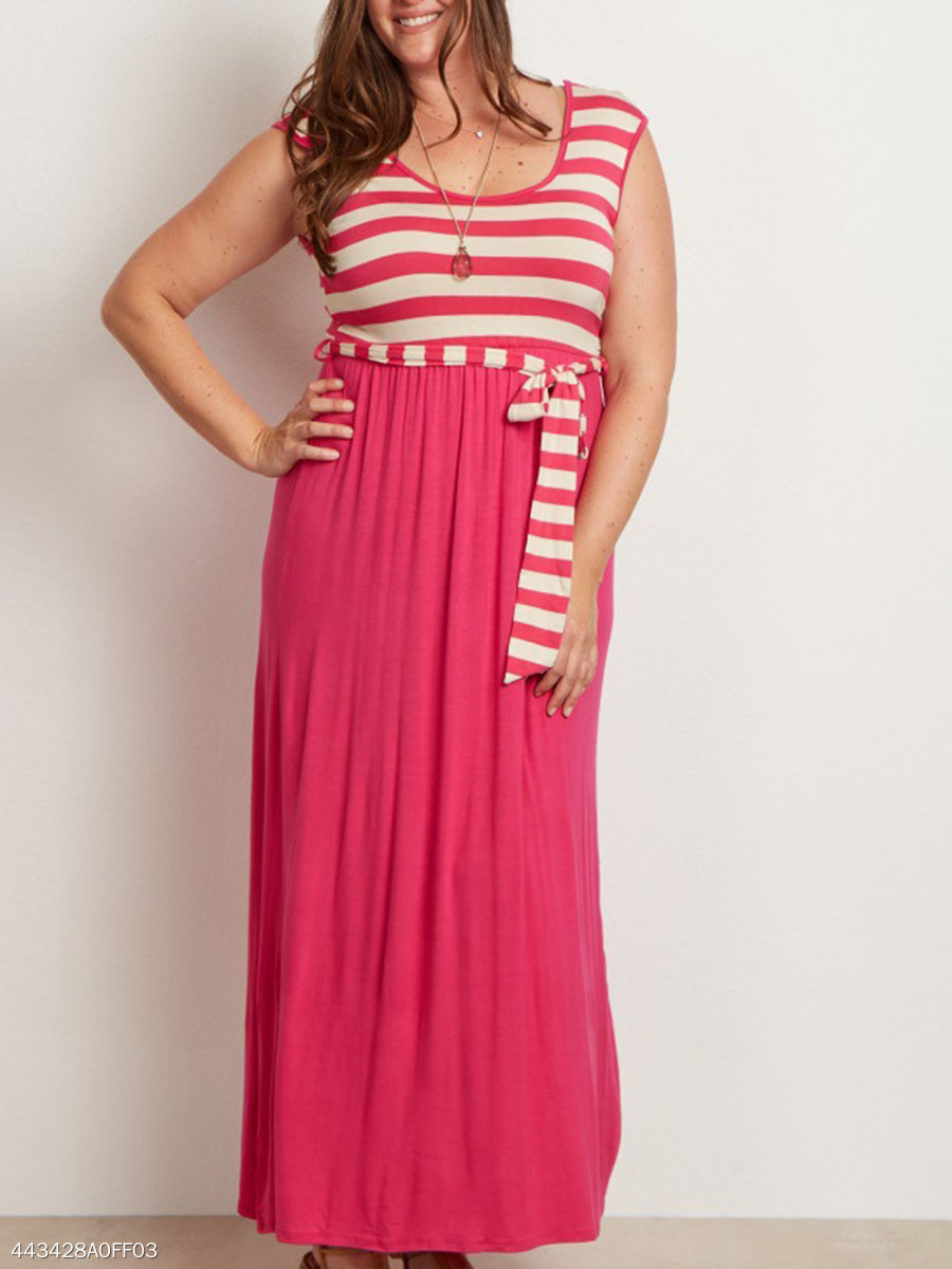 Round Neck  Patchwork  Striped Plus Size Midi & Maxi Dress