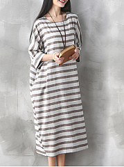 Loose-Round-Neck-Striped-Plus-Size-Shift-Dress