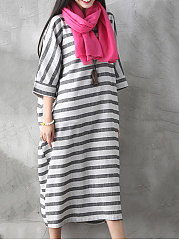 Loose Round Neck Striped Plus Size Shift Dress