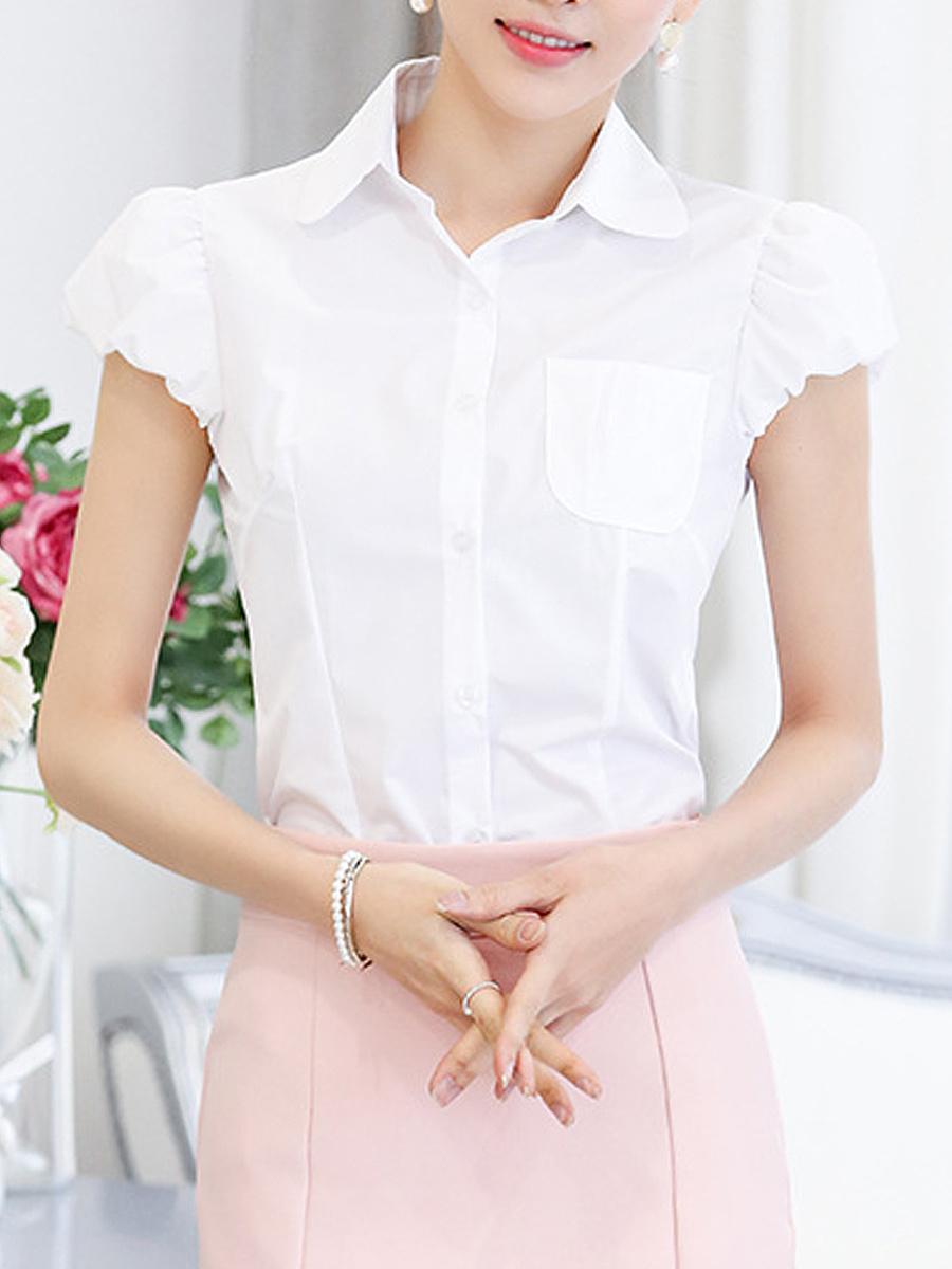 Chic Solid Puff Sleeve Blouse