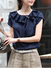 Summer  Chiffon  Women  Bowknot  Plain  Petal Sleeve  Short Sleeve Blouses