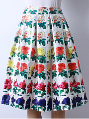 Colorful-Allover-Floral-Printed-Flared-Midi-Skirt